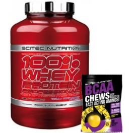 Pack Scitec Nutrition 100% Whey protein Professional 2,35 kg + BCAA Chews - Masticables 30 tabs