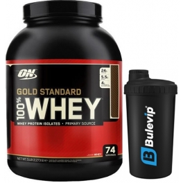 Pack Optimum Nutrition 100% Whey Gold Standard 5 Lbs (2,27 Kg) + Shaker Bulevip Negro 700 ml