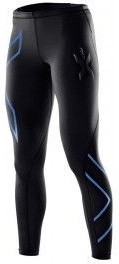 Malla larga 2XU Compression Tights Negro Logo Azul Mujer