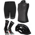 Pack Iniciacion Ciclismo Mujer (Casco Negro + Maillot Negro + Culote + Calcetines)