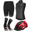 Pack Iniciacion Ciclismo Mujer (Casco Rojo + Maillot Negro + Culote + Calcetines)