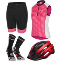 Pack Iniciacion Ciclismo Mujer (Casco Rojo + Maillot Rosa + Culote + Calcetines)