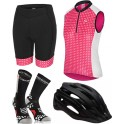 Pack Iniciacion Ciclismo Mujer (Casco Negro + Maillot Rosa + Culote + Calcetines)