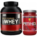 Pack Optimum Nutrition 100% Whey Gold Standard 2,27 Kg + BSN Amino X 435 gr