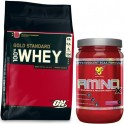 Pack Optimum Nutrition 100% Whey Gold Standard 10 Lbs (4,5 Kg) + BSN Amino X 435 gr