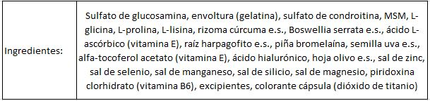 Ingredientes Keepgoing Articare Plus 120 caps